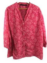 Prophecy Woman Top 3X Pink Semisheer 3/4 Sleeve Floral V Neck Shirt MM8 - $12.96