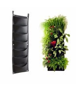 7 Pockets Outdoor Indoor Vertical Garden Planting Bag Hanging Wall Balcony  - £10.94 GBP