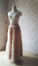 Champagne Long Layered Tulle Skirt Outfit Adults Tiered Tulle Skirt Custom image 2