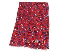 Louis Vuitton Lv Shawl Stole Scarf Red Rose Floral M70476 Woman Modal Silk Rare - $769.30
