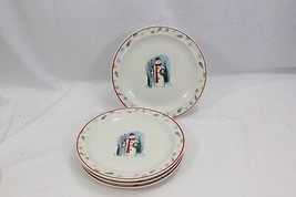 """Enchanted Forest Xmas Dinner Plates Snowman 10"""" Lot of 8 - $68.59"""