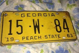 VTG 1961 Georgia Peach State License Plate Tag 15 W 84 60s Rust Antique - $61.70