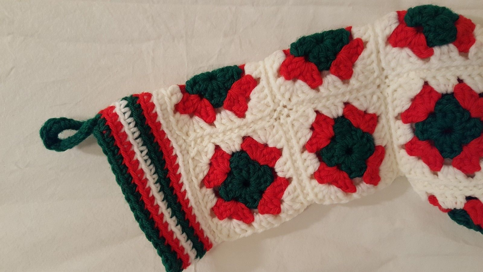 "Vintage Stocking Granny Square Crochet Handmade White Red Green 15"""