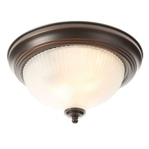 11 in. 2-Light Oil-Rubbed Bronze Flush Mount with Frosted Swirl Glass Shade - $19.80