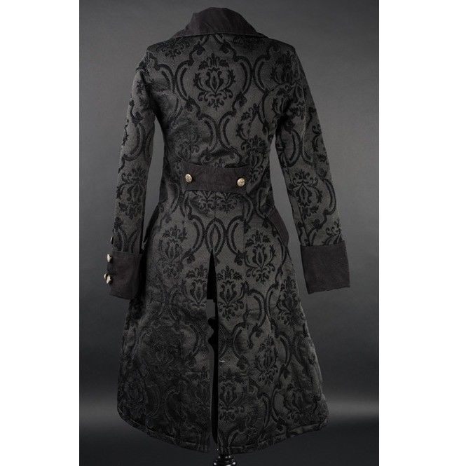 NWT Women's Black Brocade Victorian Goth Vampire Dracula Pirate Jacket Reg$190