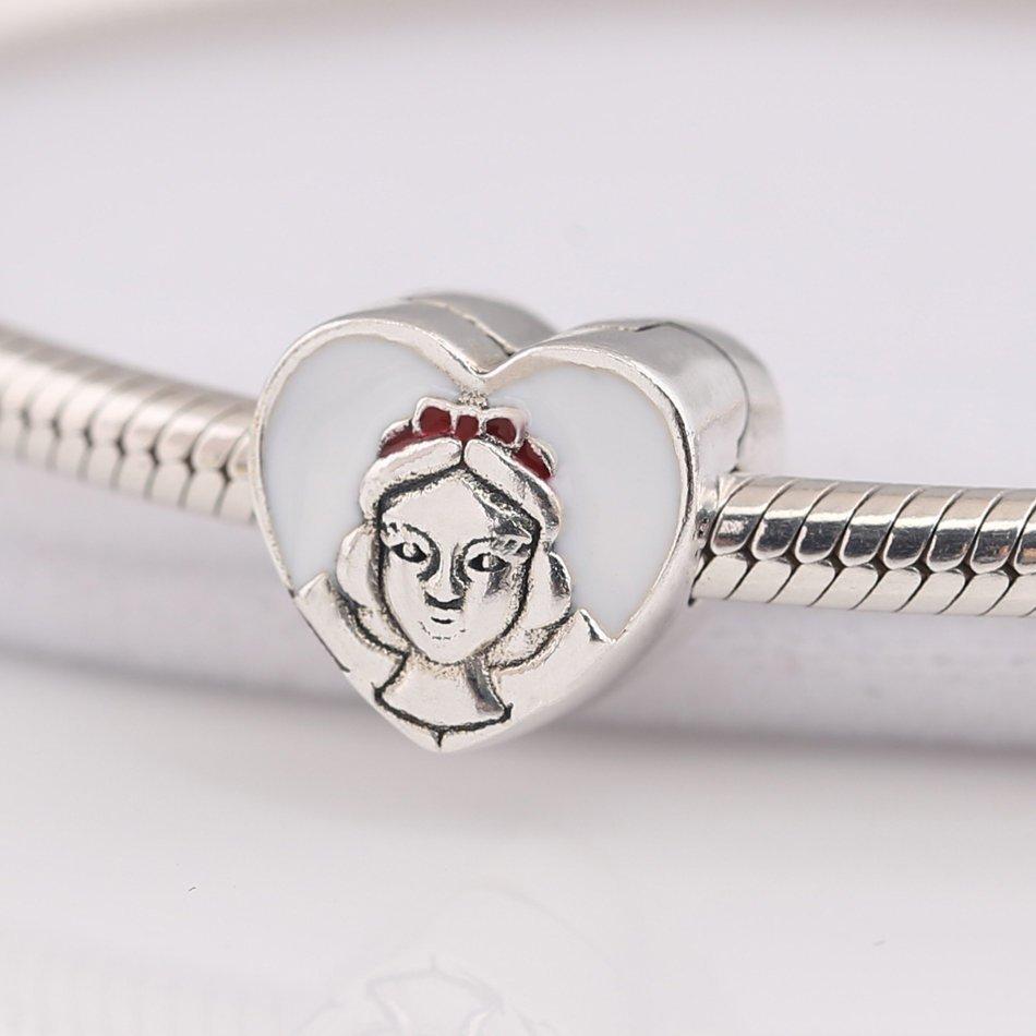 New Authentic S925 Silver Jewelry Snow White Portrait Charm Clip fit Pandora Bra