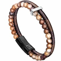 murtoo Mens Bead Leather Bracelet, Blue and Brown Bead and Leather Brace... - $24.88