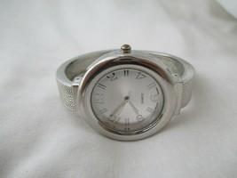 Geneva Silvertone Cuff Watch, Big Face, Metal Band - $29.00