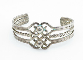 MEXICO 925 Sterling Silver - Vintage Twist Dome Detailed Cuff Bracelet - B6022 image 2