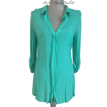 Splendid Aqua Green Mixed Media Shirting Pocket Tunic Top Blouse M Medium - $19.95