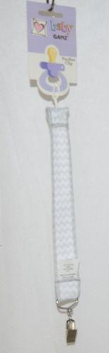 Ganz HE10043 Unisex Grey White Baby Chevron Pacifier Clip