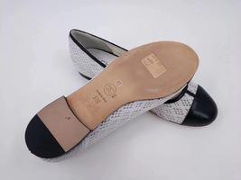 100% Authentic Chanel White Black Ballet Flats Slip On CC Logo Shoes 37C image 5