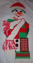 "Vtg CHRISTMAS SNOWMAN 25"" Decoration Plastic Canvas Completed Needlework - $9.99"