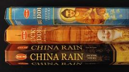 LORD BUDDHA Lucky China Rain 60 HEM Incense Sticks 3 Scent Sampler Gift Set - $7.00