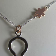 925 SILVER, AQUAFORTE NECKLACE, RHODIUM SILVER, ROSE PLATED BABY CHARM, ZIRCONIA image 5