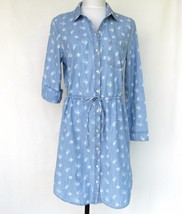 Old Navy Chambray Shirt Dress Womans Medium Floral Print Rolled Sleeves ... - $27.04