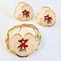 Vintage Avon Full Bloom Clip Earrings & Brooch Floral Pin Pink Goldtone Flowers - $16.99