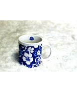 Blue Hibiscus Flower Ceramic Tea Coffee Mug by Maui Pacific Traders in H... - $14.85