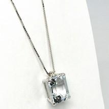 18K WHITE GOLD NECKLACE AQUAMARINE 1.95 EMERALD CUT & DIAMOND, PENDANT & CHAIN image 2