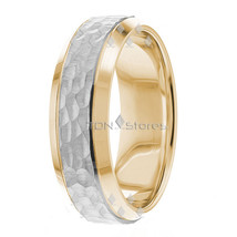 Mens Womens 10K Solid Gold Hammered Wedding Bands Rings 7mm Beveled Edge... - $322.58