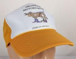 Vtg Hillbilly Motorcycle Trucker Hat Cow A Socky Snapback Yellow Mesh Ka... - $24.34