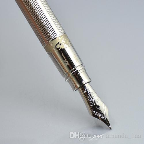 11.5 cm mini gold / silver mb fountain pen with cute laser carving school Office