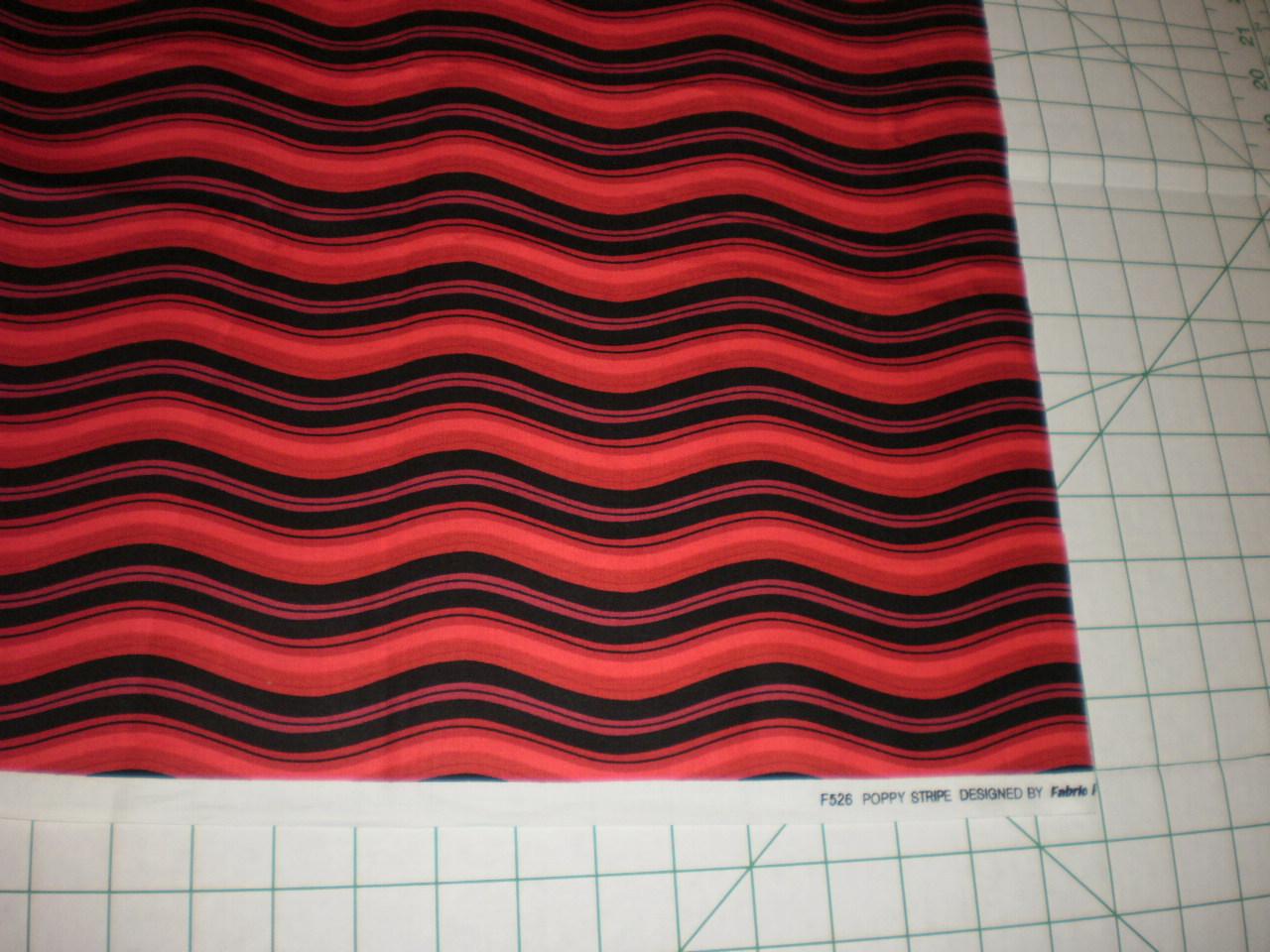 Poppy Stripe fabric freedom London England dark reds with Black 1 Yard