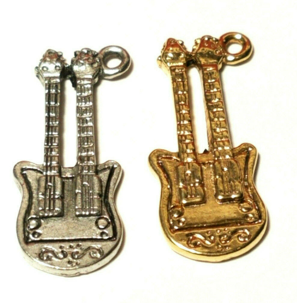 DOUBLE NECK ELECTRIC GUITAR FINE PEWTER PENDANT CHARM - 12mm L x 28mm W x 4mm D