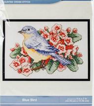 Bucilla Blue Bird Cross Stitch Kit, 5x7in, aida, floral, mini - $11.99