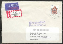 1997 Germany 450pf Historic Sites stamp on registered cover to Armenia - $4.00