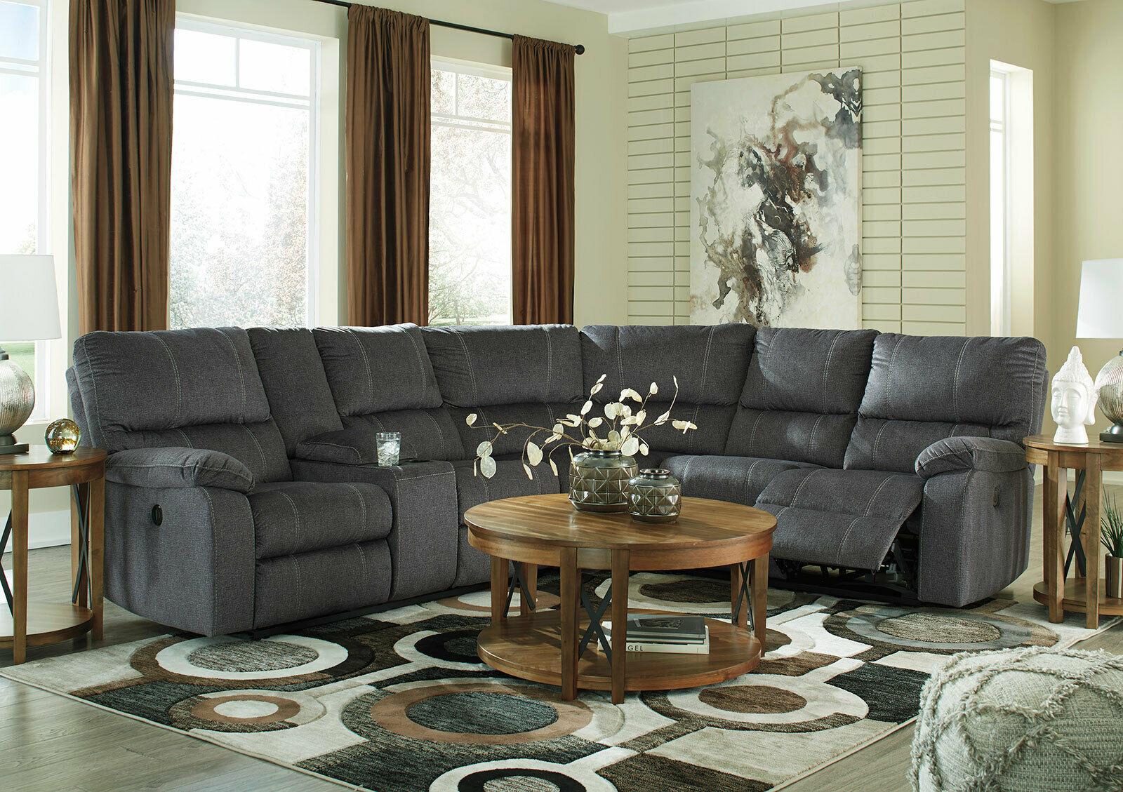 Modern living room sectional gray fabric reclining sofa - Fabric reclining living room sets ...
