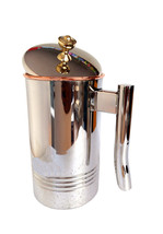 Copper Jug Water Pitcher Line Drinkware Outside Stainless Steel Utensils... - $33.49
