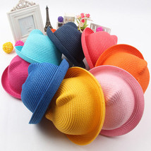 Kids Ears Hat Baby Straw Hats Girls Bucket Hat Boys Cap Children Fashion - $6.26