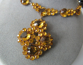 Vtg Antique Deco Czechoslovakia Czech Brass Yellow Glass Pendant Choker Necklace - $148.50
