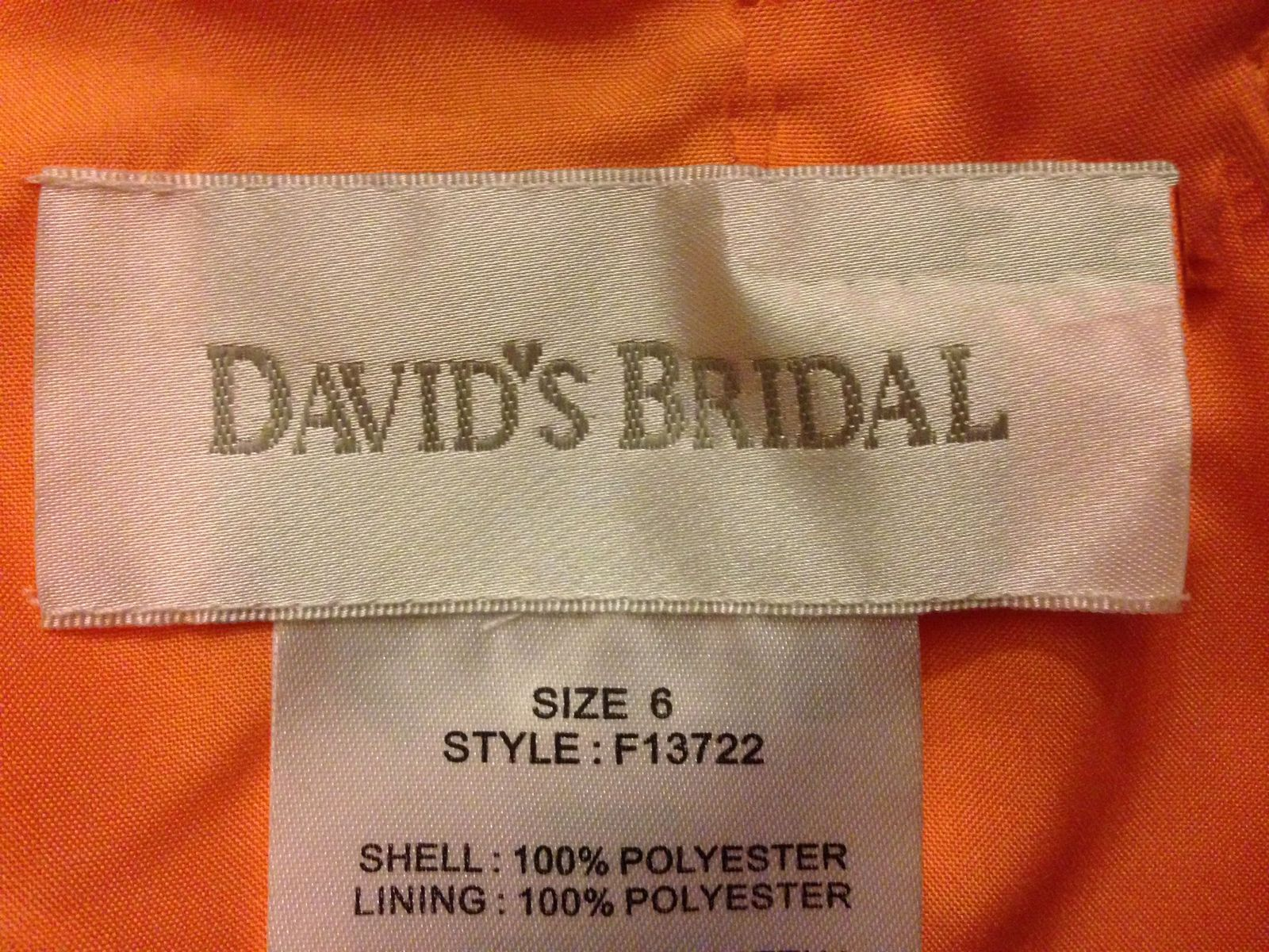 Orange Crinkle Sheer Chiffon Spaghetti Strap Bridesmaid Dress~6~DAVID'S BRIDAL