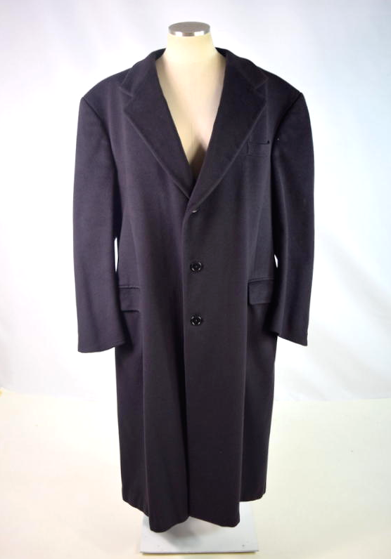 Primary image for Vtg 80s SAKS 5TH AVENUE Navy Blue Cashmere Wool Trench Coat Duster Jacket Sz 44