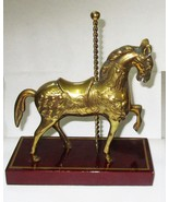 "Brass Carousel Pony on Polished Wood Base 7 1/4"" Tall - $12.95"