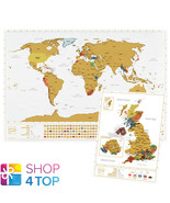 WORLD AND UK SCRATCH MAP SET TRAVEL TRACKER JOURNAL WALL POSTER WHITE NEW - $33.41