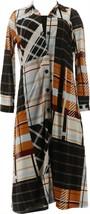 Attitudes Renee Petite Duster& Slvless Maxi Dress Set Plaid Black PM NEW... - $41.56