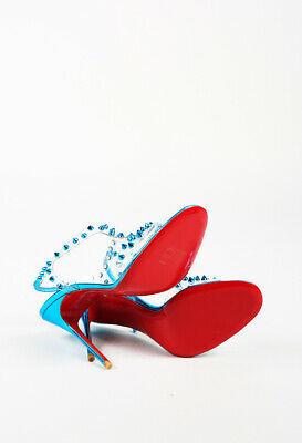 Christian Louboutin Leather Studded PVC T-Strap Sandals SZ 38.5