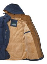 Men's Heavy Weight Sherpa Lined Removable Hood Winter Coat Insulated Navy Jacket image 4