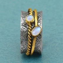 Rainbow Moonstone Anxiety Spinner Ring, 925 Silver Meditation Fidget Ring - $13.80