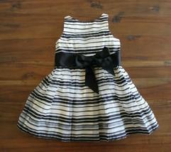 Ralph Lauren 2T Black Cream Striped Party Dress Ribbon Sash HOLIDAY - $26.70