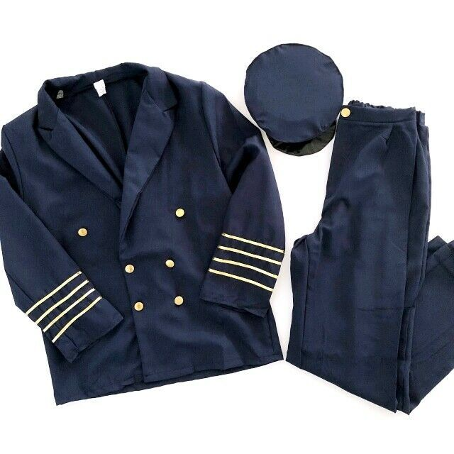 Primary image for Men's Halloween Costume Large Airline Pilot Costume Set Blazer Pants Hat Combo