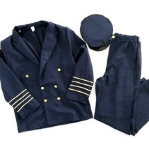 Men's Halloween Costume Large Airline Pilot Costume Set Blazer Pants Hat... - $38.25