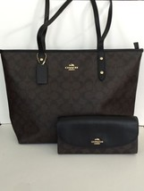 NWT Coach CITY ZIP TOTE IN SIGNATURE Coated Canvas  F58292  Brown/Black ... - $239.95