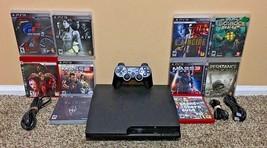 Sony PS3 Slim CECH-3001A 160GB Black Console Controller w/10 Games Bundl... - $179.00