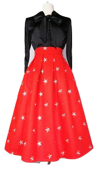 CHRISTMAS RED Winter Wool Midi Pleat Skirt High Waist Midi Skirt w. Star Pattern