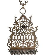 Judaica Hanukkah Oil Menorah Bronze North Africa Bird Ornament Tall Hanu... - $165.00