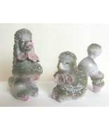 Vintage Set of 2 Ceramic French Poodles Gray and White with Pink Flowers... - $23.00